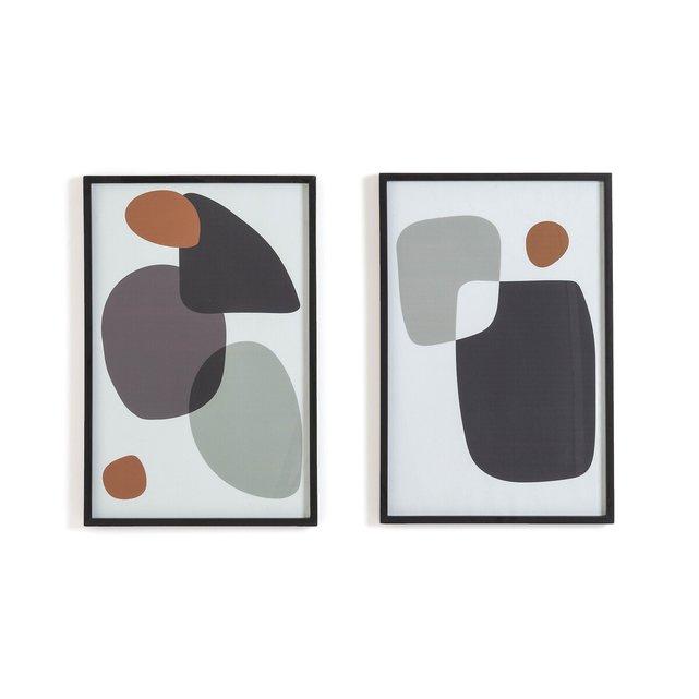 Σετ 2 αφίσες με αφηρημένα σχέδια σε κορνίζα, Organic