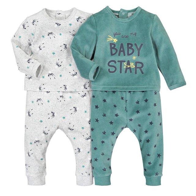 Σετ 2 βελουτέ πιτζάμες, 3 μηνός - 4 ετών