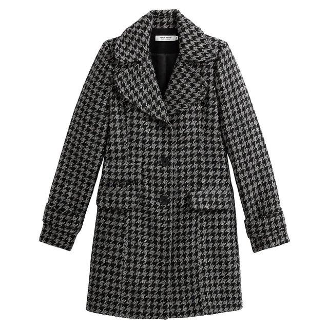 Μακρύ παλτό με μοτίβο πιε-ντε-πουλ