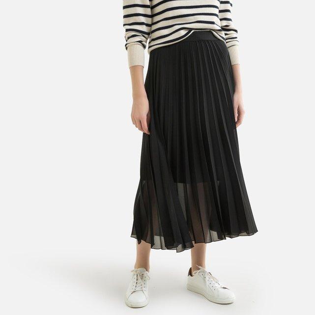 Μακριά πλισέ φούστα από βουάλ