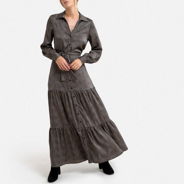 Μακρύ φόρεμα με κουμπιά, ζώνη και βολάν