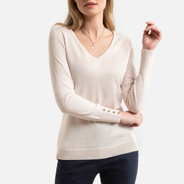 V-Neck Fine Gauge Knit Jumper, 50% Merino Wool