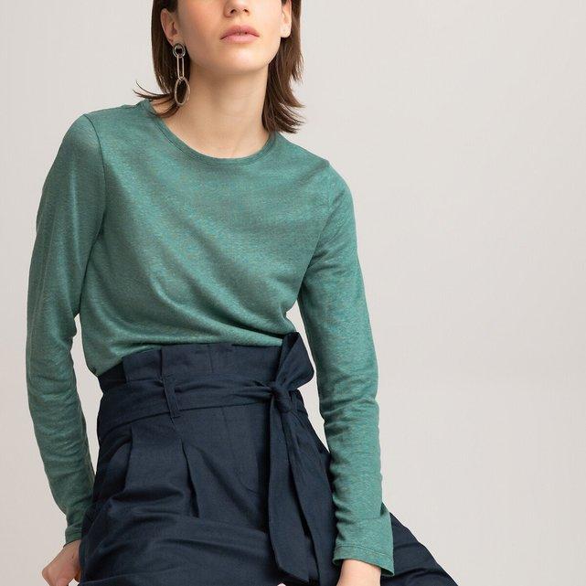 Μακρυμάνικη λινή μπλούζα με στρογγυλή λαιμόκοψη