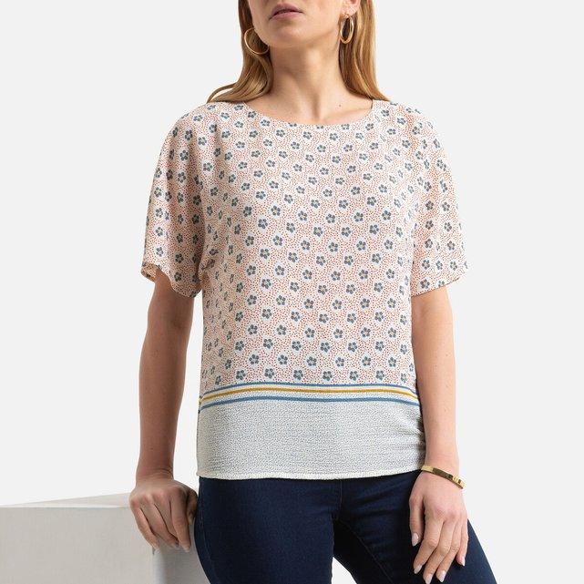 Κοντομάνικη μπλούζα με γεωμετρικό μοτίβο
