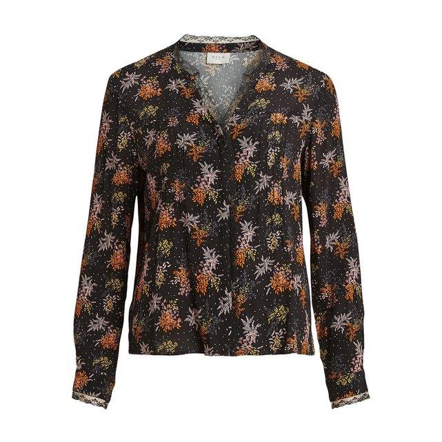 Χυτό πουκάμισο με μοτίβο φύλλα και δαντέλα