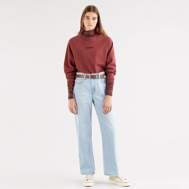 Κοντό φούτερ με στρογγυλή λαιμόκοψη και κεντημένο λογότυπο