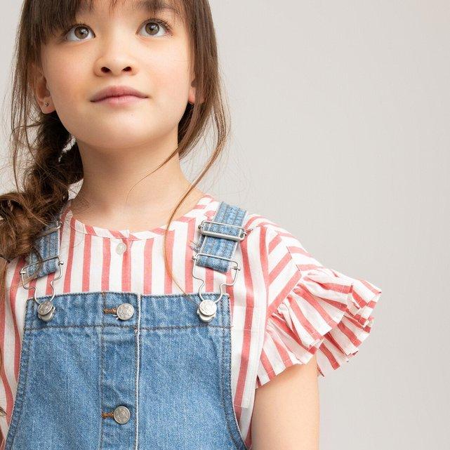 Ριγέ μπλούζα με βολάν, 3-12 ετών