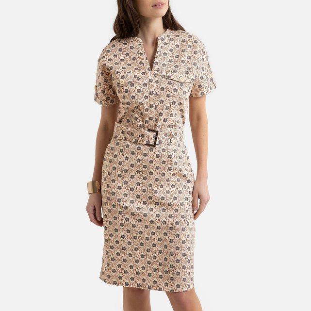 Κοντομάνικο εμπριμέ φόρεμα σε ίσια γραμμή