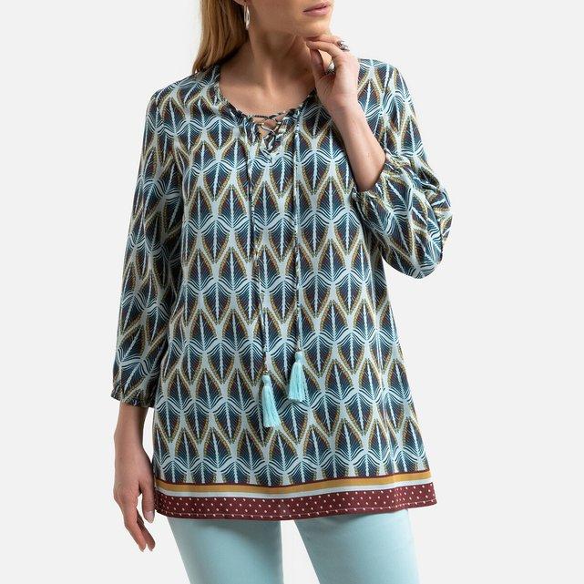Εμπριμέ έθνικ μπλούζα με V και μανίκια 3|4