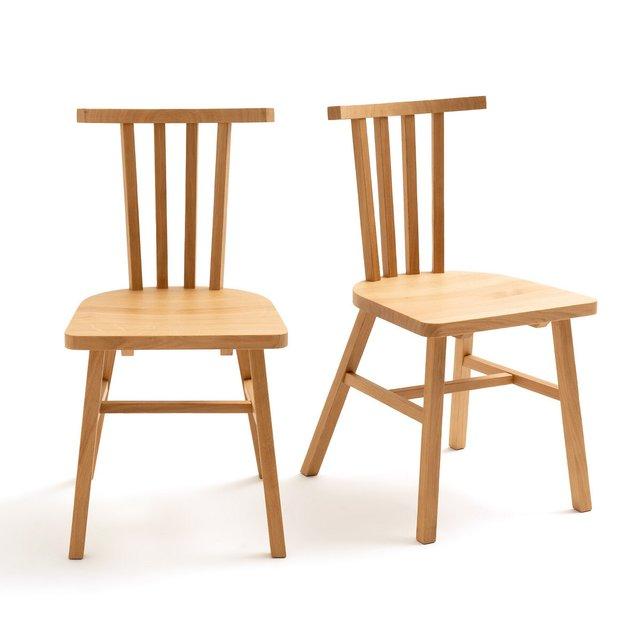 Σετ 2 καρέκλες με κάγκελα από μασίφ ξύλο δρυ, Ivy