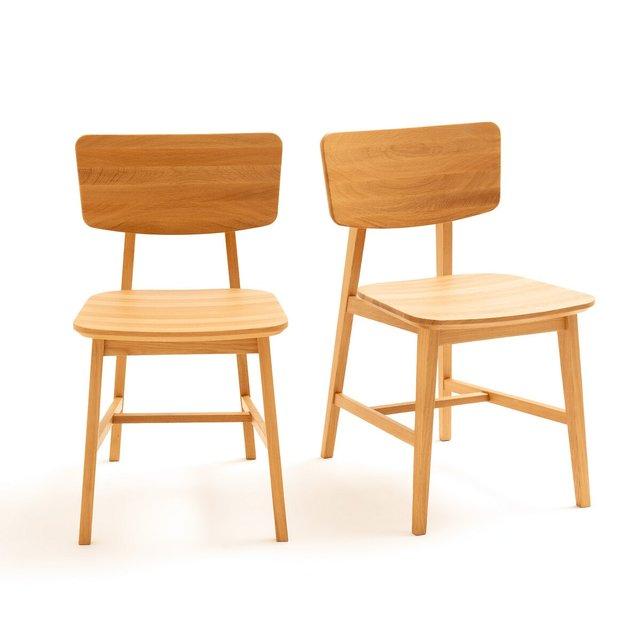 Σετ 2 καρέκλες vintage από μασίφ ξύλο δρυ, Aya