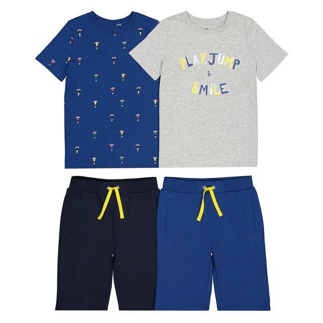Σετ 2 πιτζάμες με σορτς από βιολογικό βαμβάκι, 3-14 ετών