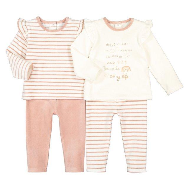 Σετ 2 βελουτέ πιτζάμες χωρίς ενσωματωμένες πατούσες, 6 μηνών - 4 ετών