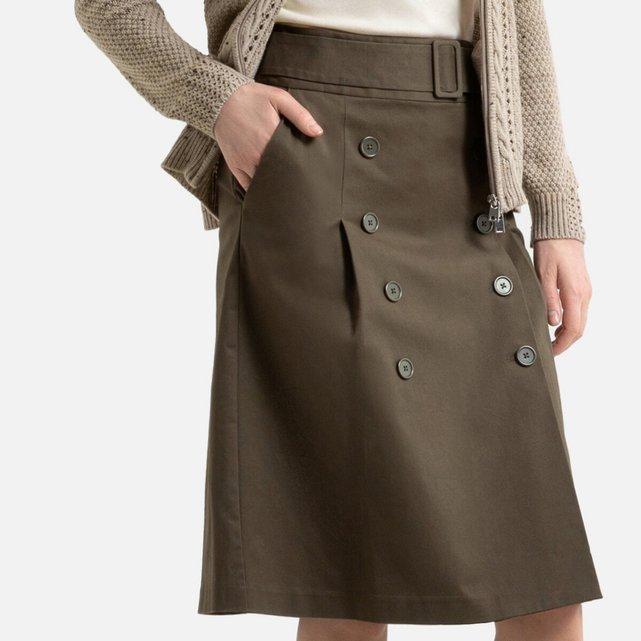 Εβαζέ φούστα-φάκελος από στρετς σερζ ύφασμα
