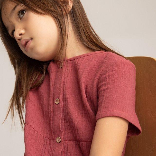 Κοντομάνικο φόρεμα από βαμβακερή γάζα, 3-12 ετών