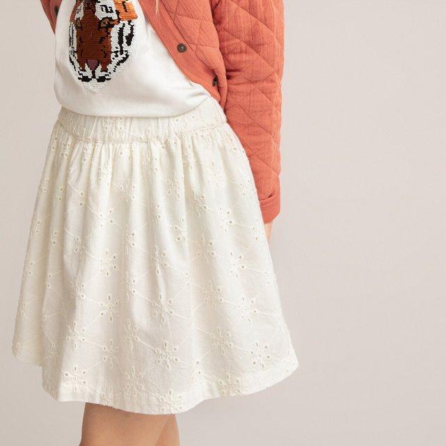 Κοντή φούστα από κοφτό κέντημα, 3 - 12 ετών