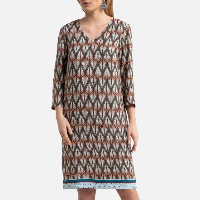 Ίσιο εμπριμέ φόρεμα με μανίκια 3|4