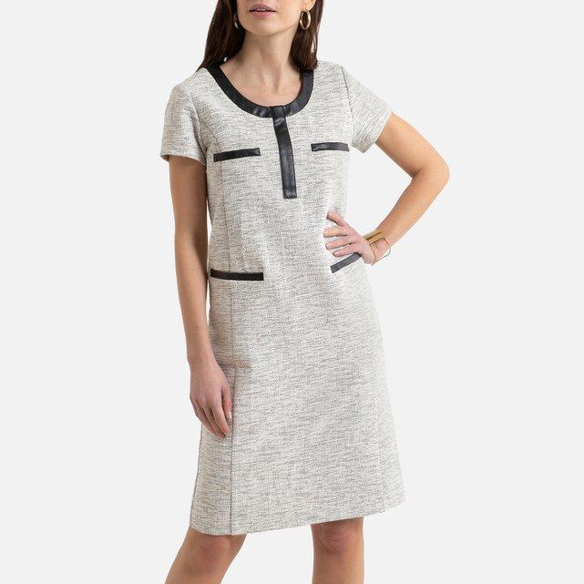 Κοντομάνικο φόρεμα από τουίντ σε ίσια γραμμή