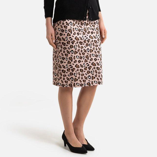 Ίσια μίντι φούστα με animal print