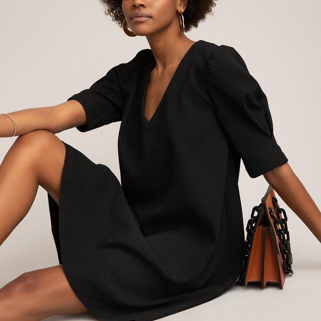 Κοντομάνικο ριχτό φόρεμα με V και φουσκωτά μανίκια