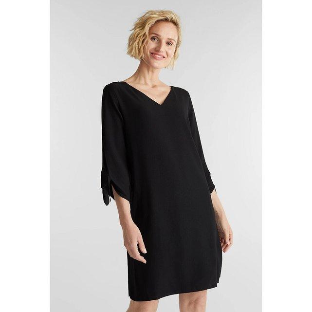 Κοντό ίσιο φόρεμα από κρεπ με V ντεκολτέ