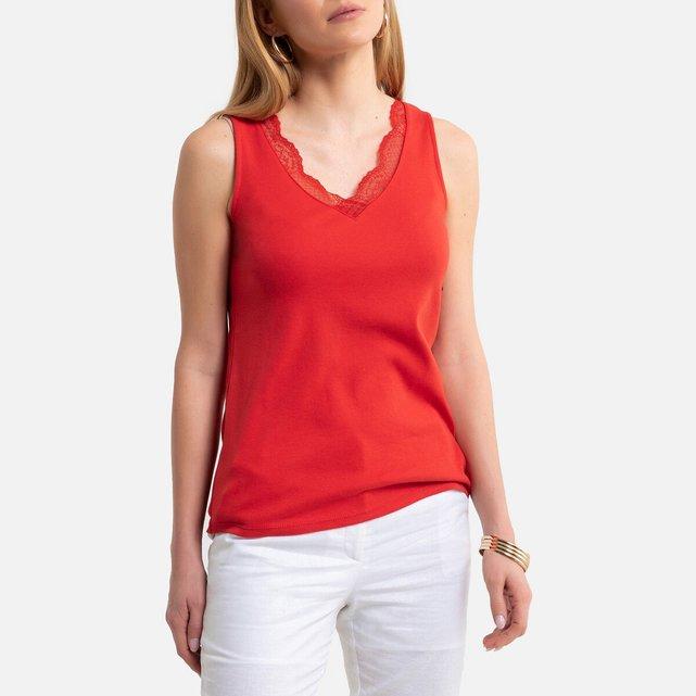 Αμάνικη βαμβακερή μπλούζα V