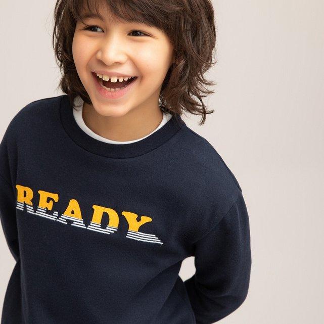 Φούτερ με στρογγυλή λαιμόκοψη και μήνυμα, 3-12 ετών