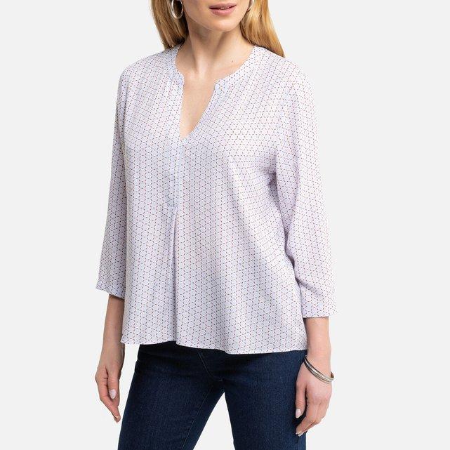 Εμπριμέ μπλούζα με λαιμόκοψη κελεμπίας και μανίκια 3|4
