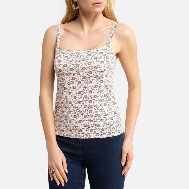 Αμάνικη εμπριμέ μπλούζα με τετράγωνο ντεκολτέ και λεπτές τιράντες