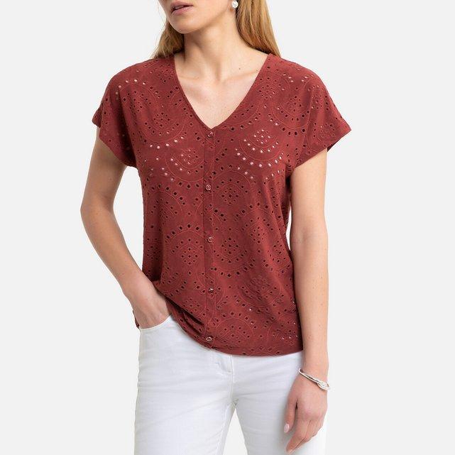 Κοντομάνικη μπλούζα με V και αζούρ σχέδιο