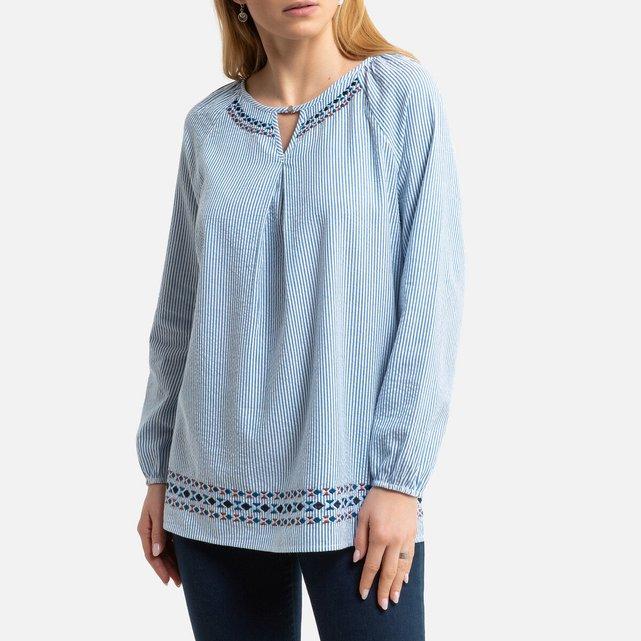 Μακρυμάνικη ριγέ μπλούζα με στρογγυλή λαιμόκοψη και κέντημα