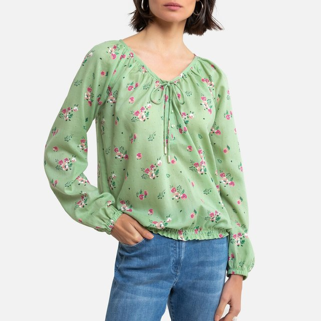 Μακρυμάνικη μπλούζα με φλοράλ μοτίβο