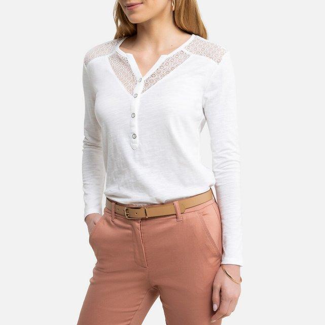 Μακρυμάνικη μπλούζα με κουμπιά στη λαιμόκοψη