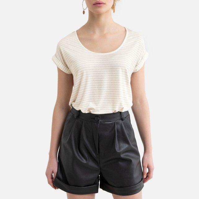 Κοντομάνικη μπλούζα με γυαλιστερές ρίγες