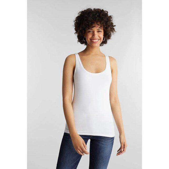 Αμάνικη μπλούζα με στρογγυλό ντεκολτέ