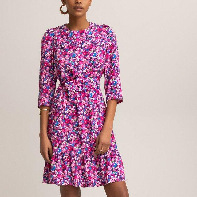 Κοντό φόρεμα με φλοράλ μοτίβο και μανίκια 3|4