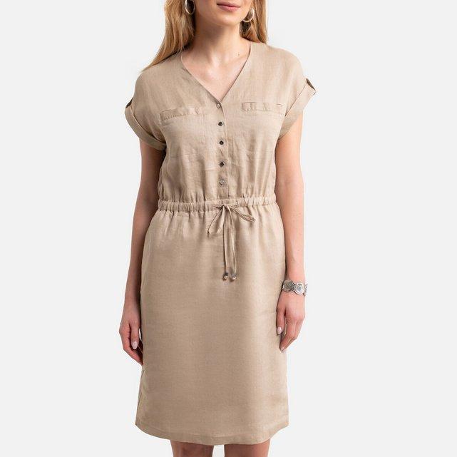 Κοντομάνικο λινό φόρεμα σε ίσια γραμμή