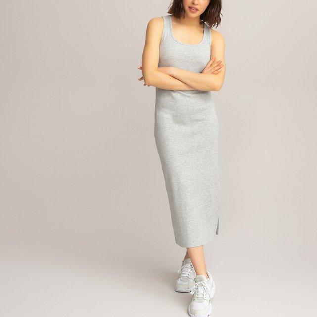 Μακρύ αμάνικο φόρεμα σε ριμπ ύφανση, 10-18 ετών