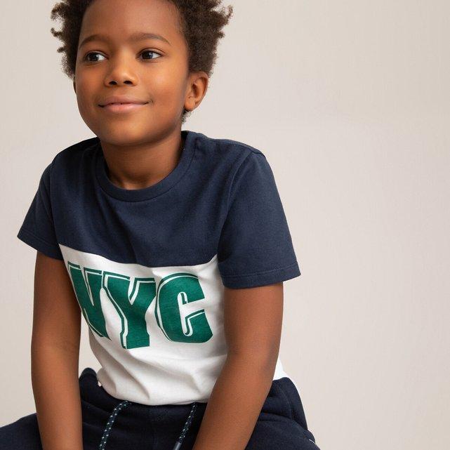 T-shirt με στρογγυλή λαιμόκοψη και στάμπα μπροστά, 3-14 ετών