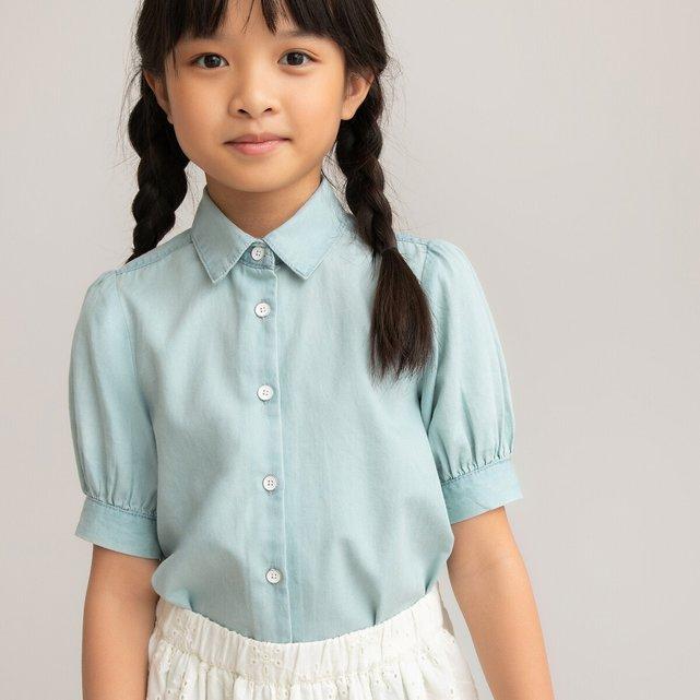 Κοντομάνικη μπλούζα από ελαφρύ ντένιμ, 3-12 ετών