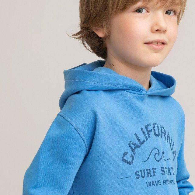 Φούτερ με κουκούλα και στάμπα μπροστά, 3-12 ετών
