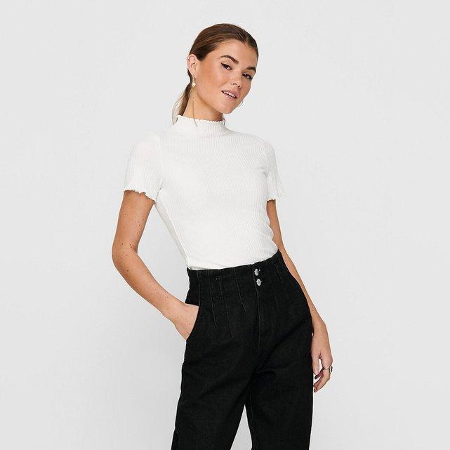 Ριμπ μπλούζα με όρθιο λαιμό