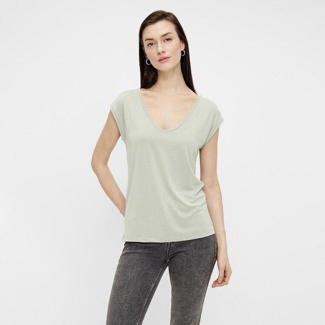 Κοντομάνικο T-shirt με V