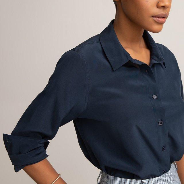 Μακρυμάνικο μεταξωτό πουκάμισο σε ίσια γραμμή