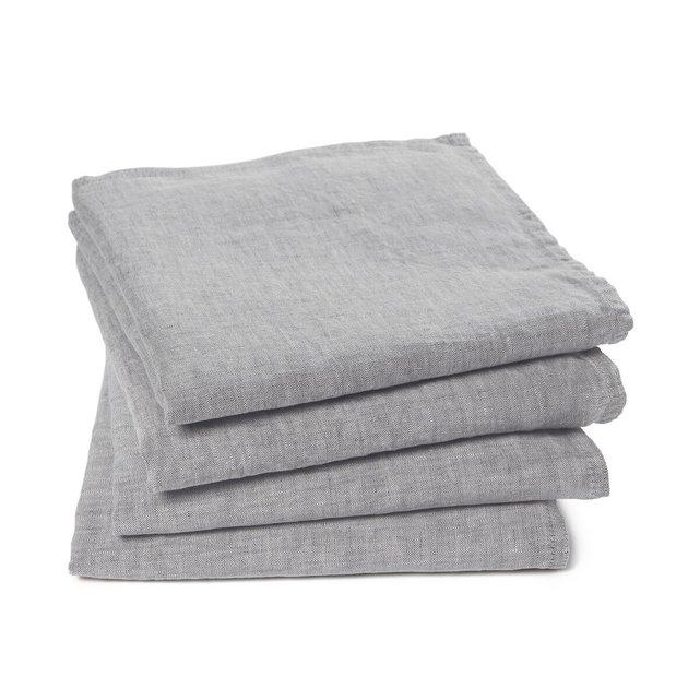 Σετ 4 πετσέτες φαγητού από προπλυμένο εκρού, Victorine