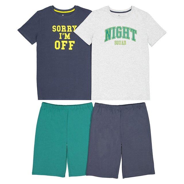 Σετ 2 πιτζάμες με σορτς από βιολογικό βαμβάκι, 10-18 ετών