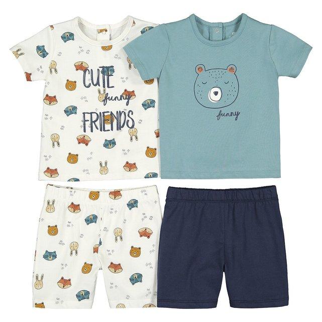 Σετ 2 πιτζάμες με σορτς από βιολογικό βαμβάκι, 3 μηνών - 4 ετών
