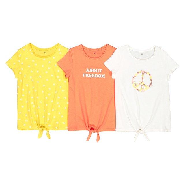 Σετ 3 κοντομάνικες μπλούζες με φιόγκο μπροστά, 3-12 ετών