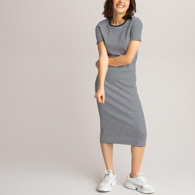 Μακρύ ριμπ φόρεμα με ρίγες από βιολογικό βαμβάκι, 10-18 ετών