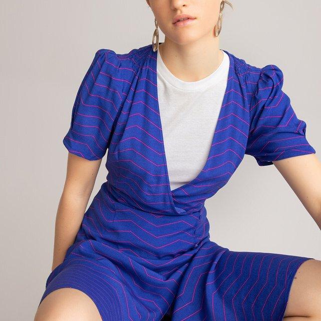 Κοντομάνικο εμπριμέ φόρεμα-φάκελος
